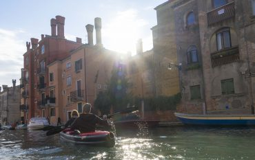 Isabell and Dominik in their Grabner Explorer Kayak paddeling throug Venice