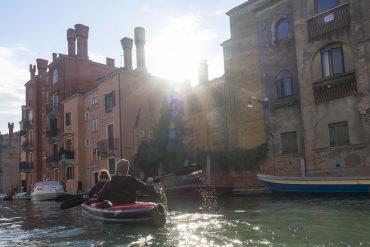 Isabell and Dominik in their Grabner Explorer Kayak paddeling throug Venice