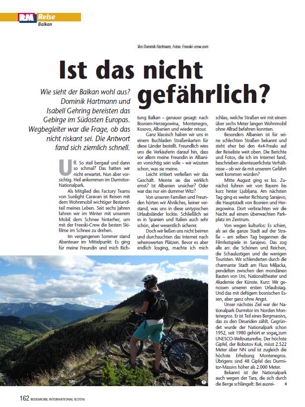 'Balkan- ist das nicht gefährlich?' Article in Reisemobil International 08/2016