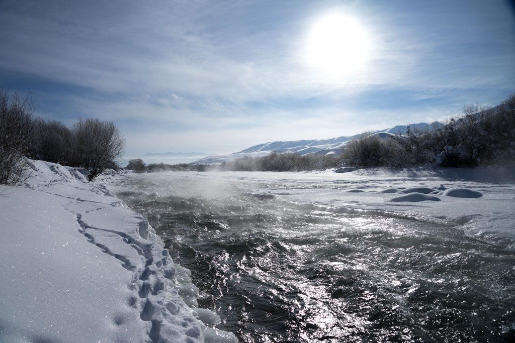 River during winter time in the Suusamyr valley