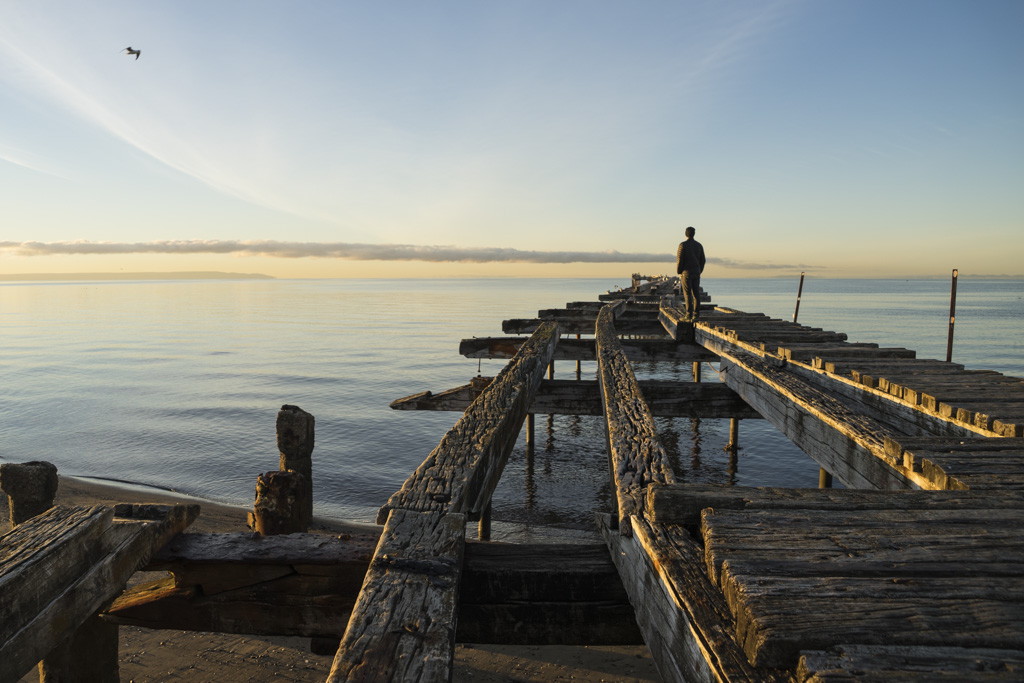Morning glory at the old pier of Punta Arenas in Patagonia