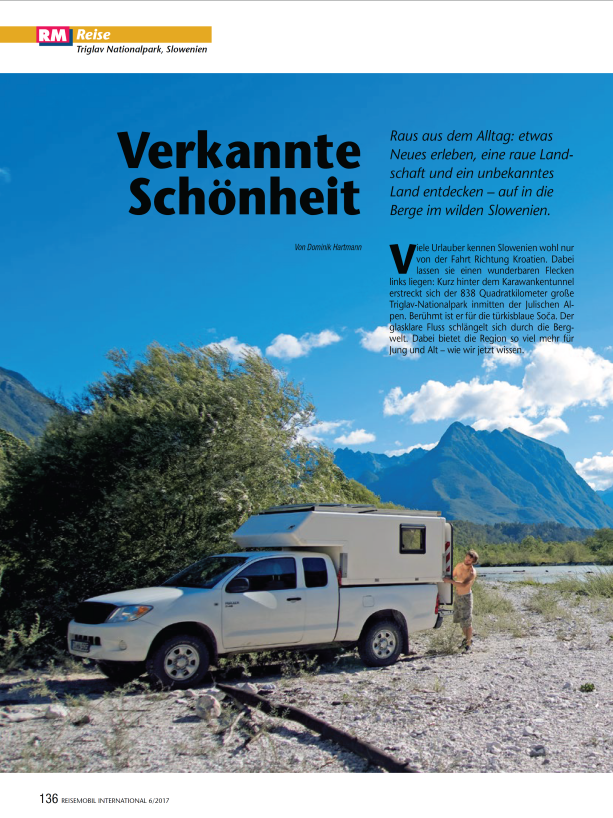 'Triglav National Park, Slowenien- Verkannte Schönheit' Article in Reisemobil International 06/2017